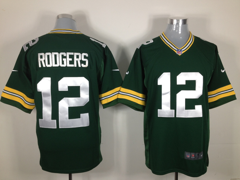 Green Bay Packers 12 rodgers green Game nike jerseys